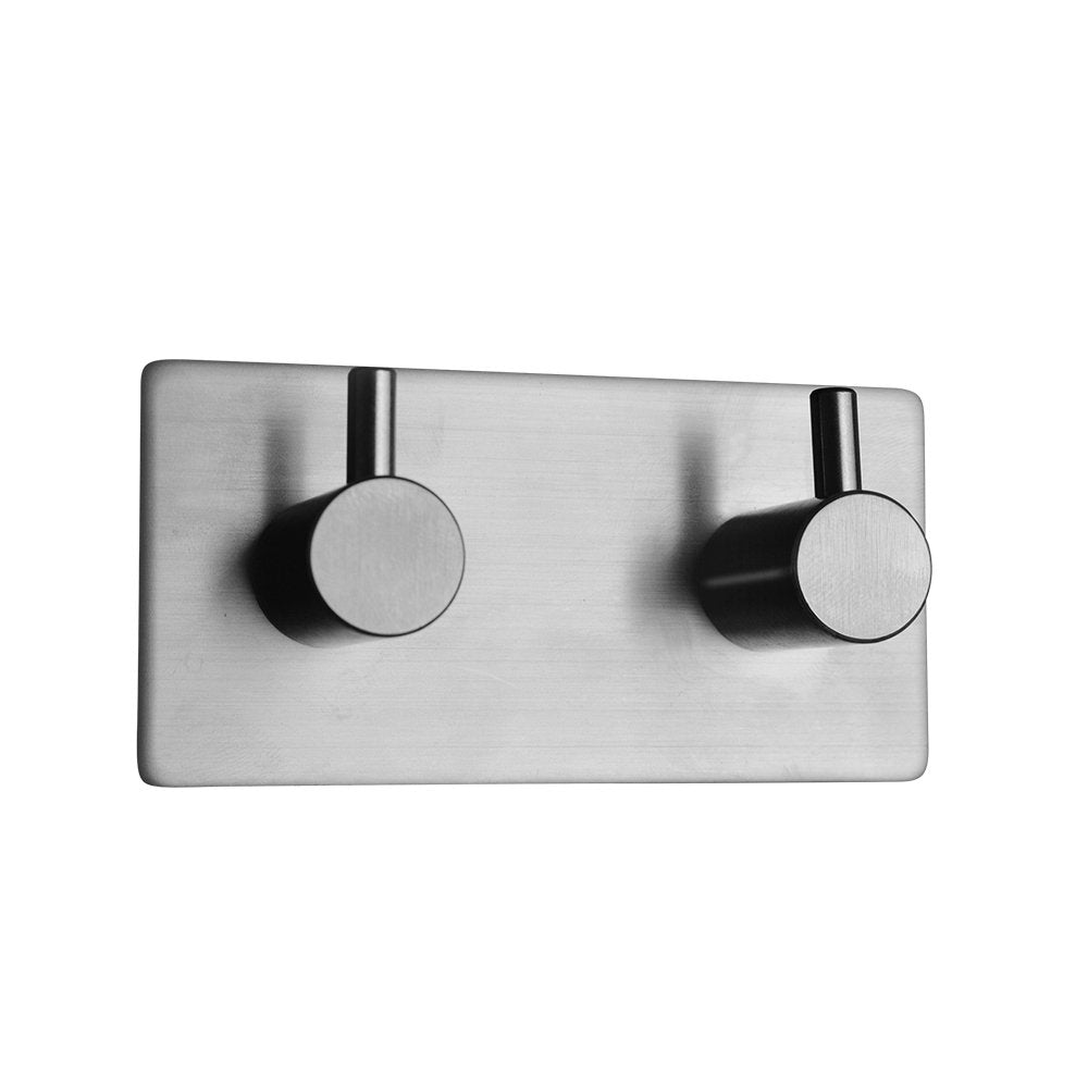 3M Self Adhesive Towel Hook Stick on Wall Robe Holder SUS 304 Stainless Steel Polished Hanging Coat Hanger Strong Heavy Duty (2-Hook)