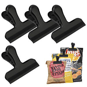 EWAYY Bag Clips Metal Food Bag Sealing Clips Air Tight 4 Pack Heavy Duty Stainless Steel 3 Inches Wide Perfect For Picture & Coffee & Food Refined Home Office?Black?