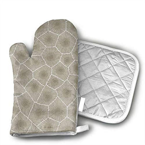 Petoskey Stone Cotton Puppet Oven Mitts and Pot Holder Kitchen Set with Neoprene Non-Slip Grip, Heat Resistant, Oven Gloves and Pot Holders 2pcs Set for BBQ Cooking Baking, Grilling,Machine Washable.