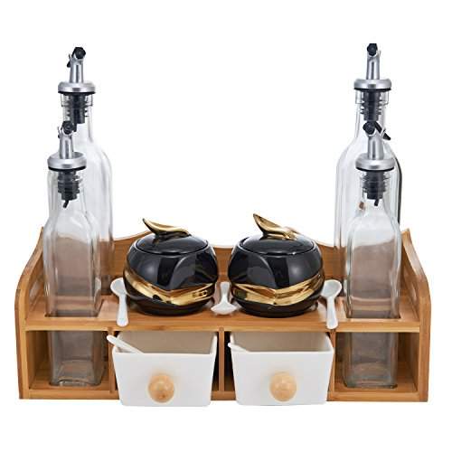 Condiment Jars and Oil Bottles Set - 2 Spices Seasoning Pots, 4 Glass Vinegar Cruets, 5 Spoons, 2 Drawer Salt Boxes on Wood Display Rack - Porcelain Multifunctional Kitchen Tool Organizer