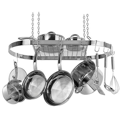 Range Kleen CW6001 Stainless Steel Hanging Oval Pot Rack 1.5 Inch H by 33 Inch W by 17 Inch D