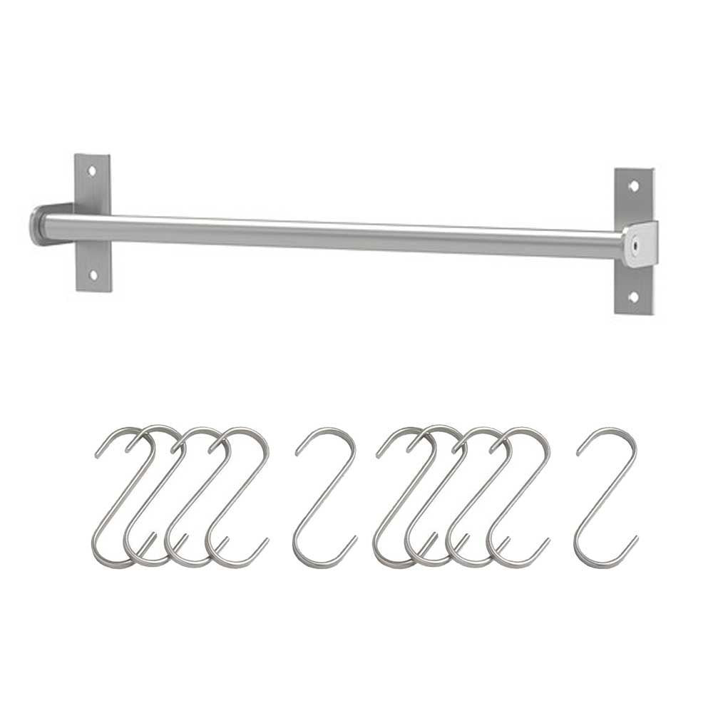 IKEA GRUNDTAL stainless steel Rail with S-Hook 10pack