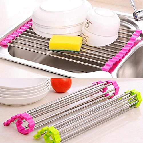 Dish Rack, Windspeed Over the Sink Multipurpose Roll-Up Dish Drying Rack (Rose)
