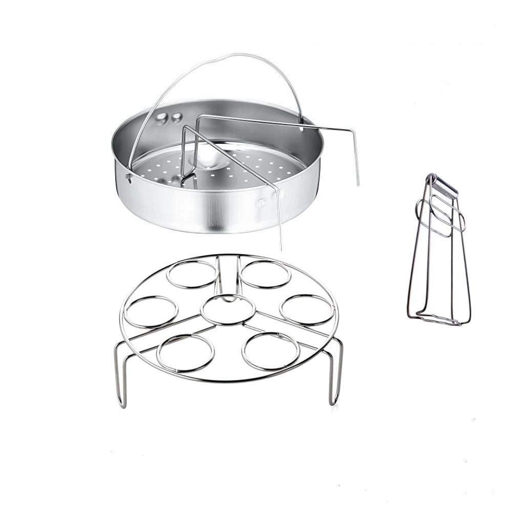 6QT Instant Pot Accessories, Stainless Steel Steamer Basket Set - Fits Instant Pot 5, 6, 8qt Pressure Cooker with Plate Dish Clip Clamp And Bonus Clear Clothes, Egg Steamer Basket Rack