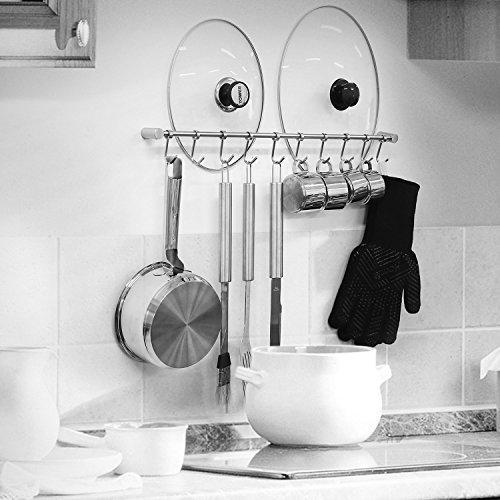 Squelo Kitchen Rail Rack Wall Mounted Utensil Hanging Rack Stainless Steel Hanger Hooks for Kitchen Tools, Pot, Towel