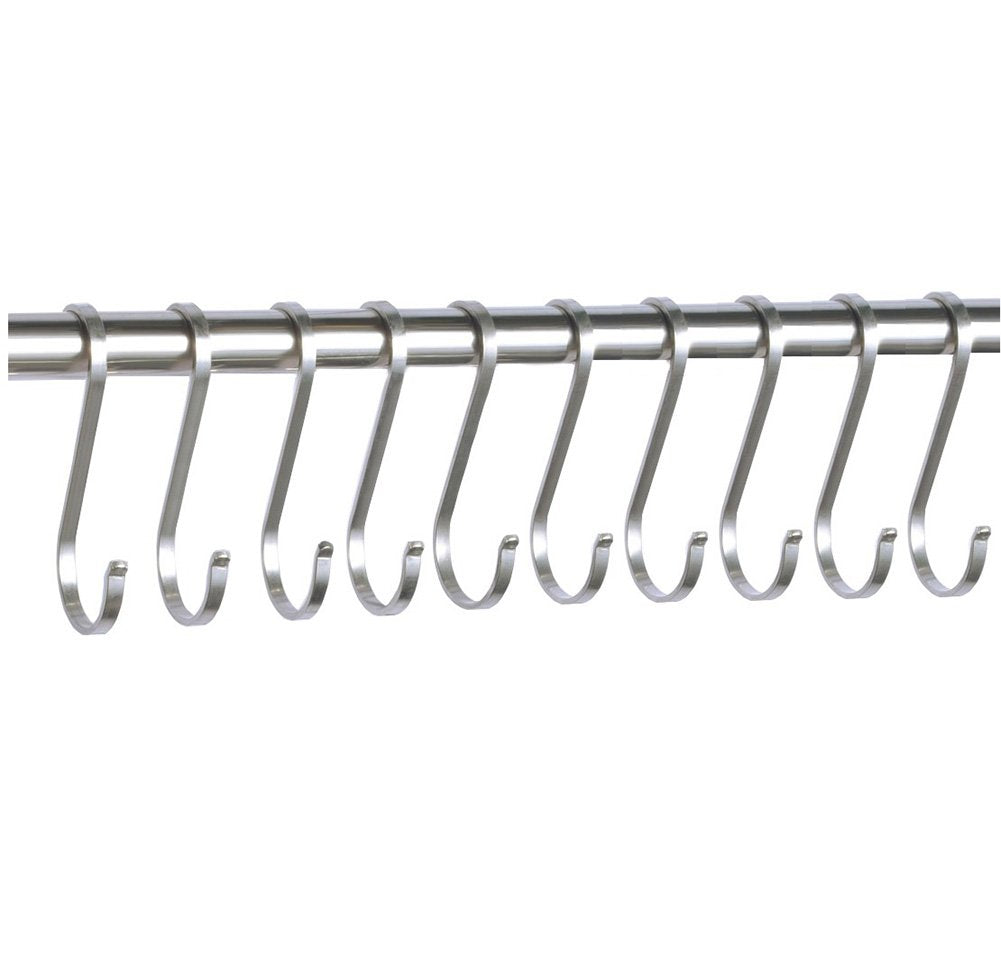 10 Pack Flat S Hooks Heavy Duty Hanging Hooks 304 Stainless Steel S Shaped Metal Kitchen Pot Pan Hangers Rack Hooks (L/Flat/10pcs)