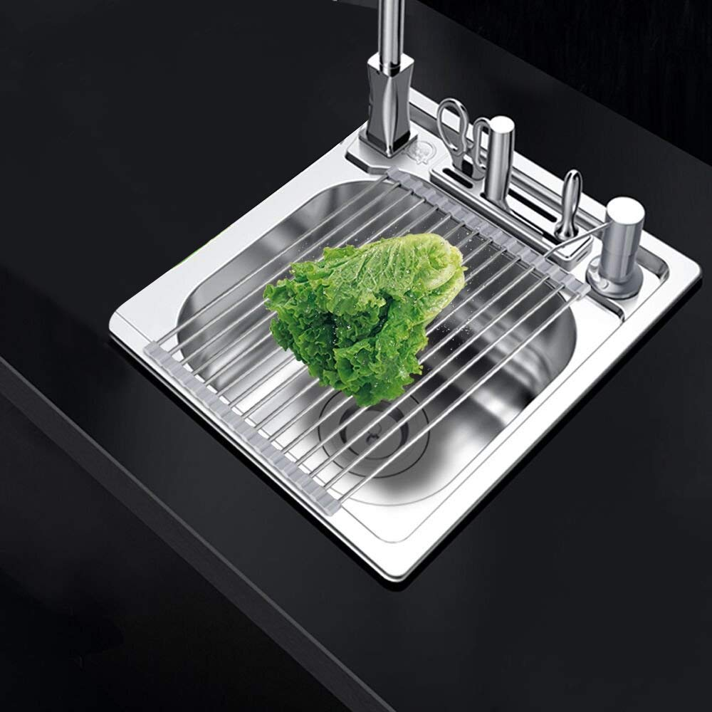 "Foldable Dish Drying Rack Over The Sink, Large 20.5''L X 13""W, ELifeApply Stainless Steel Multipurpose Roll-Up Sink Rack for Kitchen"