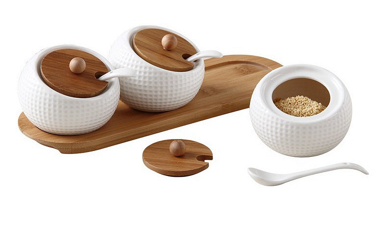 Alwaysuc Modern Design Porcelain Jar, Ceramic Serving Spoon, Bamboo Tray Perfect Canister for Sugar Bowl Serving Tea, Coffee, Spice Best Pottery Cruet Pot for Your Home, Kitchen, Counter.