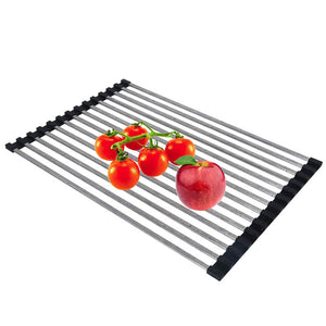 Oropy Roll up Dish Drying Rack (21''/LX13''/W) Over Sink 304 Stainless Steel Multi-function Drainer for Veggies Fruits Square Bar with A Free Hook