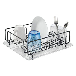 mDesign Large Modern Metal Wire Kitchen Dish Drainer Drying Rack with Plastic Cutlery Caddy and Drainboard for Sink or Countertop - Clear/Matte Black