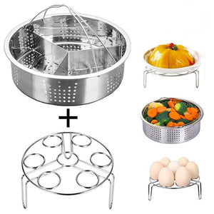 Instant Pot Accessories Steamer Basket with Egg Steamer Rack, Divider, Fits Instant Pot 5,6,8 qt Pressure Cooker, Stainless Steel, 3 Pcs Set