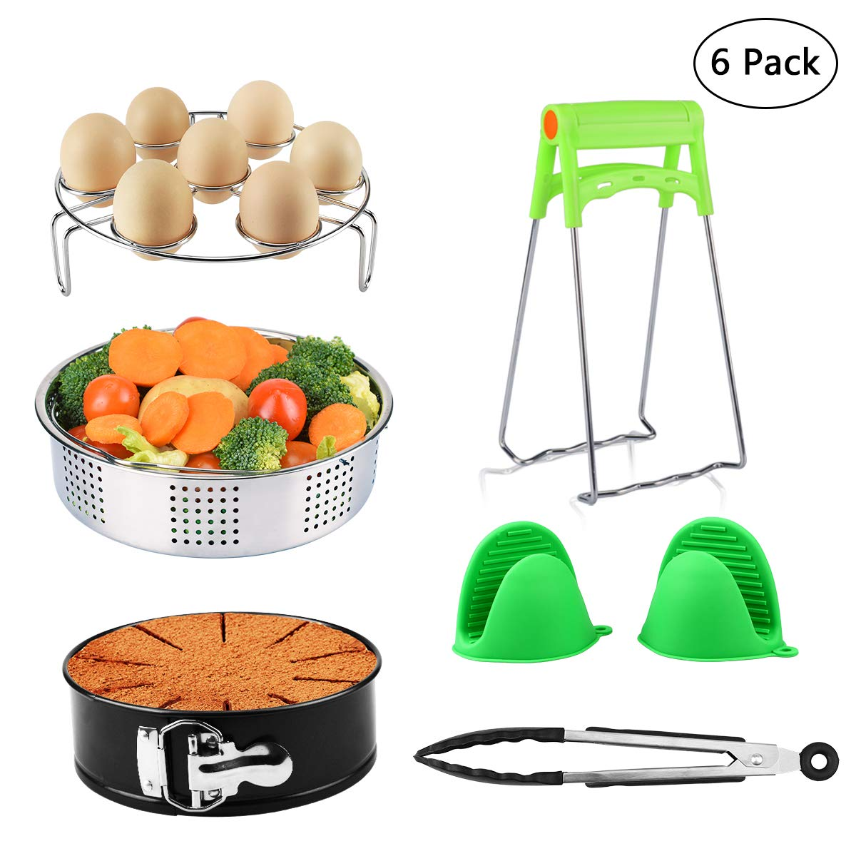 Pot Accessories - 6 Pcs Accessories Set Fits InstantPot 5, 6, 8 Qt Pressure Cooker, Steamer Basket/Egg Steamer Rack/Non-Stick Springform Pan/