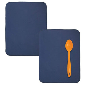 mDesign Ultra Absorbent Reversible Microfiber Dish Drying Mat and Protector for Kitchen Countertops, Sinks - Folds for Compact Storage, Extra Large - 2 Pack - Navy Blue/White