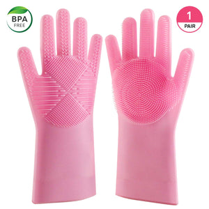 Blitzby Magic Wash, New Design Reusable Silicone Dishwashing Scrubber, Cleaning Brush Gloves for Kitchen, Household, Dish Washing, Washing The Car, Pink