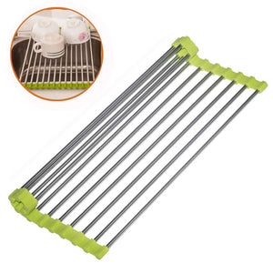 Over the Sink Stainless Steel Roll Up Dish Drying Rack