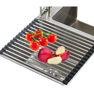 Oropy Roll up Dish Drying Rack Over Sink 304 Stainless Steel Multi-function Drainer for Veggies Fruits 16''/LX13''/W Square Bar with A Free Hook