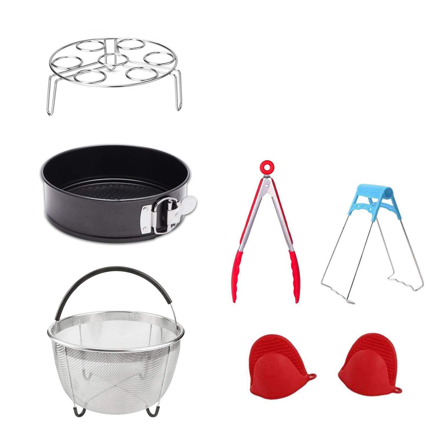 Accessories for Pressure Cooker with Steamer Basket, Egg Steamer Rack, Non-stick Springform Pan,Food Tong, Bowl Dish Clip, 1 Pair Silicone Cooking Pot Mitts 7 Piece
