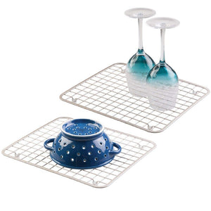 mDesign Modern Metal Wire Kitchen Sink Metal Dish Drying Rack/Mat - Steel Wire Grid Design - Allows Wine Glasses, Mugs, Bowls and Dishes to Drain in Sink - 2 Pack - Satin