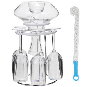 Lily's Home Decanter and Wine Glasses Drying Stand, with Rubber Coated Top to Prevent Scratches and Comes with a Decanter and Glasses Cleaning Brush (10.5 in x 7.5 in)