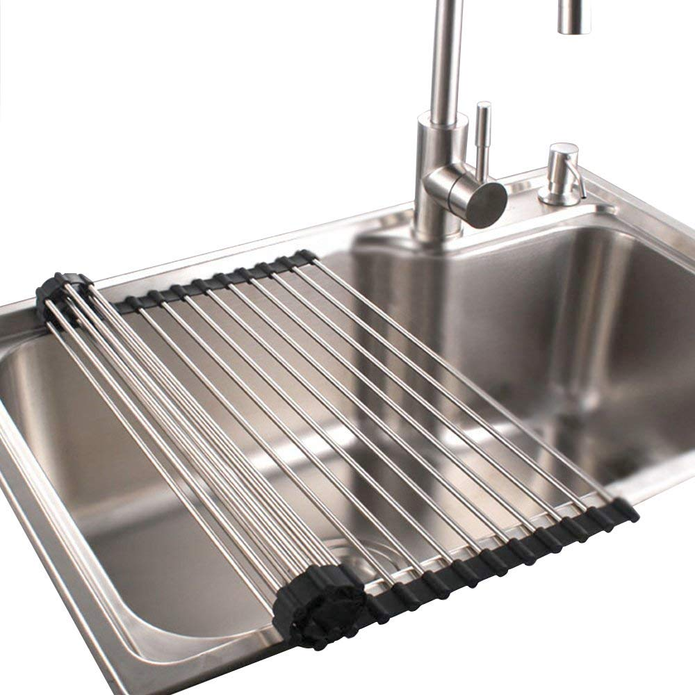 Dish Rack Sponge Holder Stainless Steel RV Roll up Shelf Over Sink Drainer for Recreational Vehicle Large (17.2x15.7x0.4) inch