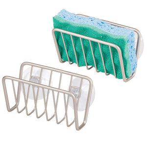 mDesign Metal Farmhouse Kitchen Sink Storage Organizer Caddy - Small Holder for Sponges, Soaps, Scrubbers - Quick Drying Open Wire Basket Design with Strong Suction Cups - 2 Pack - Satin