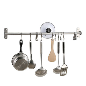 KES Kitchen Rail Rack Wall Mounted Utensil Hanging Rack Brushed Stainless Steel Hanger Hooks for Kitchen Tools, Pot, Towel (15 Sliding Hooks), KUR209S80-2