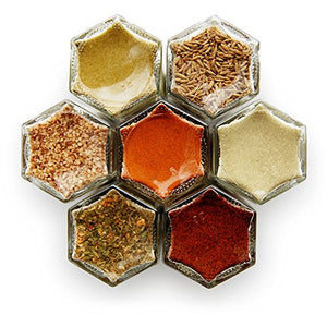 MEXICAN KIT: 7 Magnetic Jars FILLED with ORGANIC Herbs and Spices. Spice Storage Solution / Hanging Spice Rack / Kitchen Space Saver. (Silver Lids)