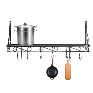 Wall Mounted or Hanging Pots and Pans Rack. Pot Holders Wall Shelves with 12 Hooks. Kitchen Shelves Wall Mounted with Wall Hooks. Kitchen Storage Pot Holder Pot Rack. Pot Pan Organizer. Pot Pa