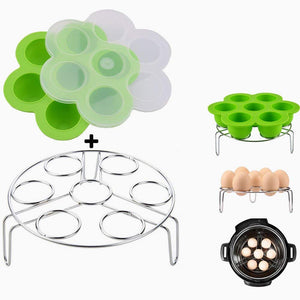 Green Silicone Egg Bites Molds With Stainless Steel Egg Steamer Rack for Instant Pot Accessories, Pressure Cooker Food Steamer, Vegetable Steam Rack Stand and Reusable Storage Container