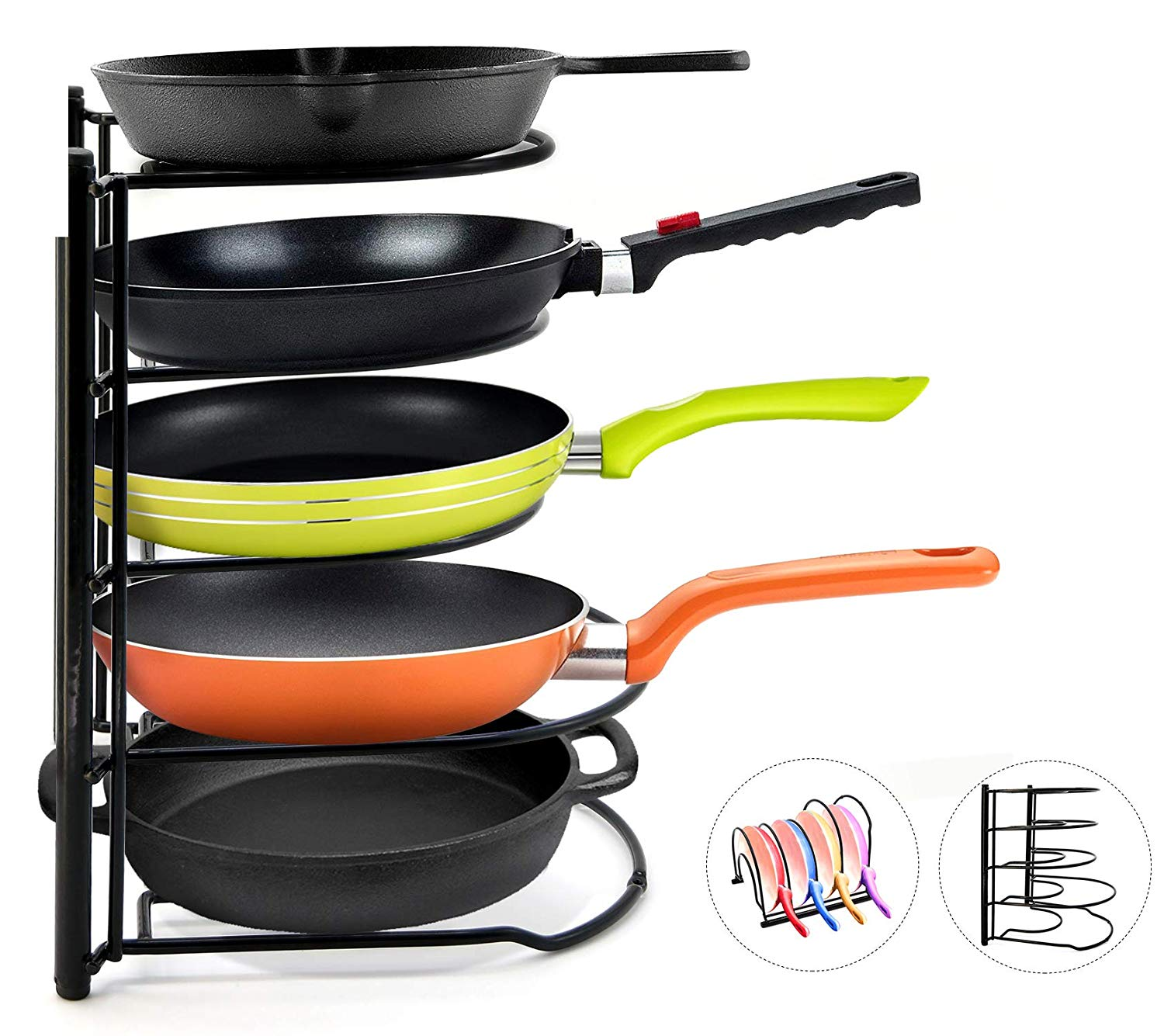5-Tier Heavy Duty Pot Pan Organizer Pot Racks Cookware lids Holder for Cabinet Worktop Storage Kitchen Pot Lid Organizer Rack-Bottom Tier for Larger Pans(Black)