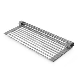 "Dish Drying Rack, AYCLIF Over the Sink Foldable Dish Rack with 18 Stainless Steel Pipes and Soft Silicon for Multi-Purpose(Warm Gray, 20.5"" x 13.2"")"