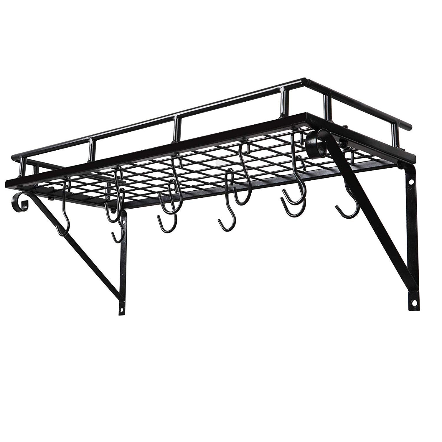 Pot Rack Anti-rusting Surface Durable Steel Iron Hanger With 10 S-type Hooks