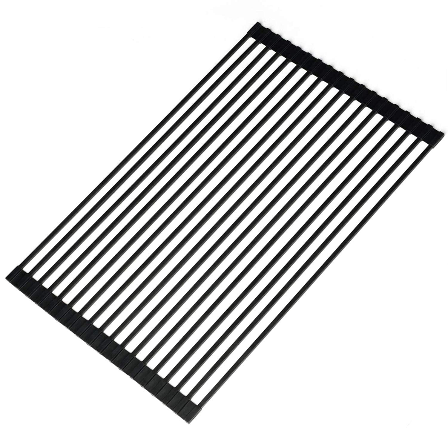 Ahyuan Large Roll-up Dish Drying Rack Square Solid Bars Multipurpose Silicone Coated Stainless Still Dishes Drainer Rack Large Foldable Over Sink Kitchen Drainer Rack (Metallic Black)