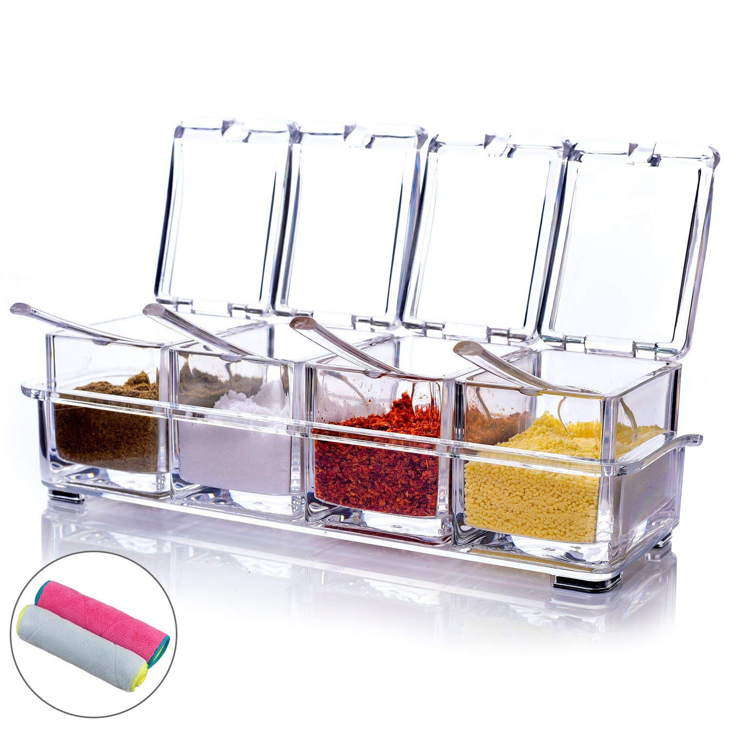 MONICA Clear Seasoning Rack Spice Pots-4 Piece Pure Acrylic Seasoning Box-Storage Container Condiment Jars-Cruet with Cover and Spoon-Included 2 Microfibre Cloths