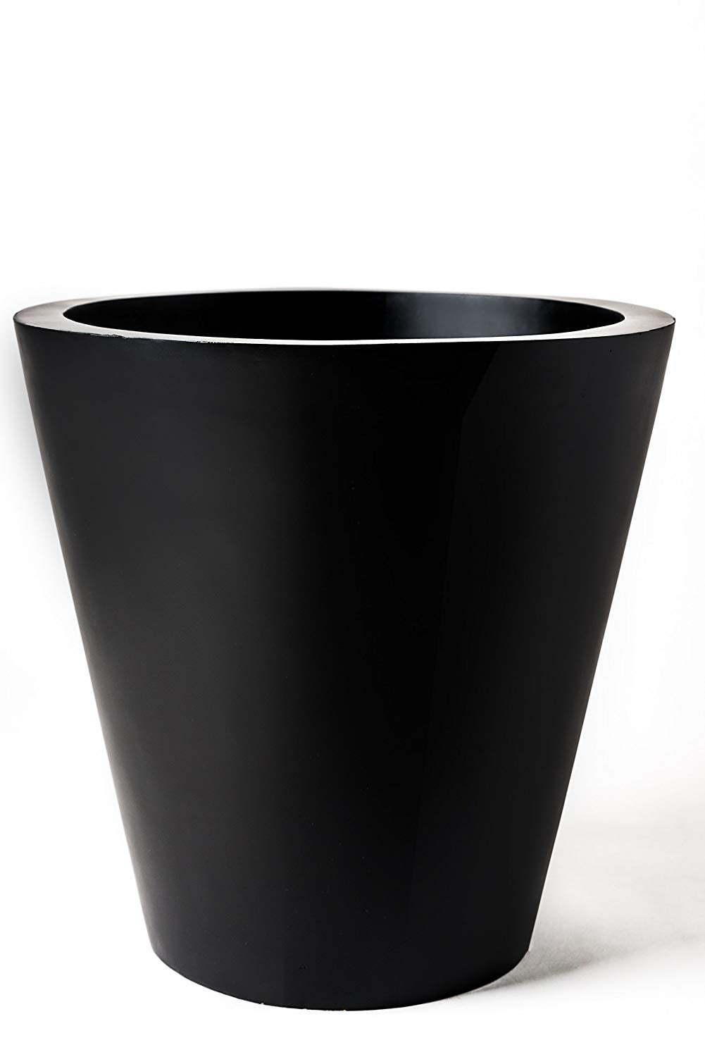 "Large Outdoor Planter; Round Plant Pot, Indoor, Patio or Garden, Flower Pot, Handmade Fiberglass, 16"" Tall, (Tubinae Black 16""x16""x16"" and 7.5lbs)"