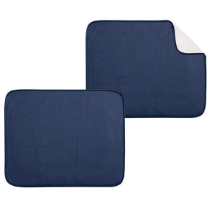 mDesign Ultra Absorbent Reversible Microfiber Dish Drying Mat and Protector for Kitchen Countertops, Sinks: Folds for Compact Storage, Large - 2 Pack - Navy Blue/White