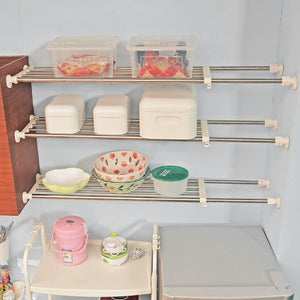 Baoyouni Tension Closet Shelf Heavy Duty Organizer Rack Stainless Steel Expandable Storage Shelves Rod Ivory, 39.76-60.04 Inch