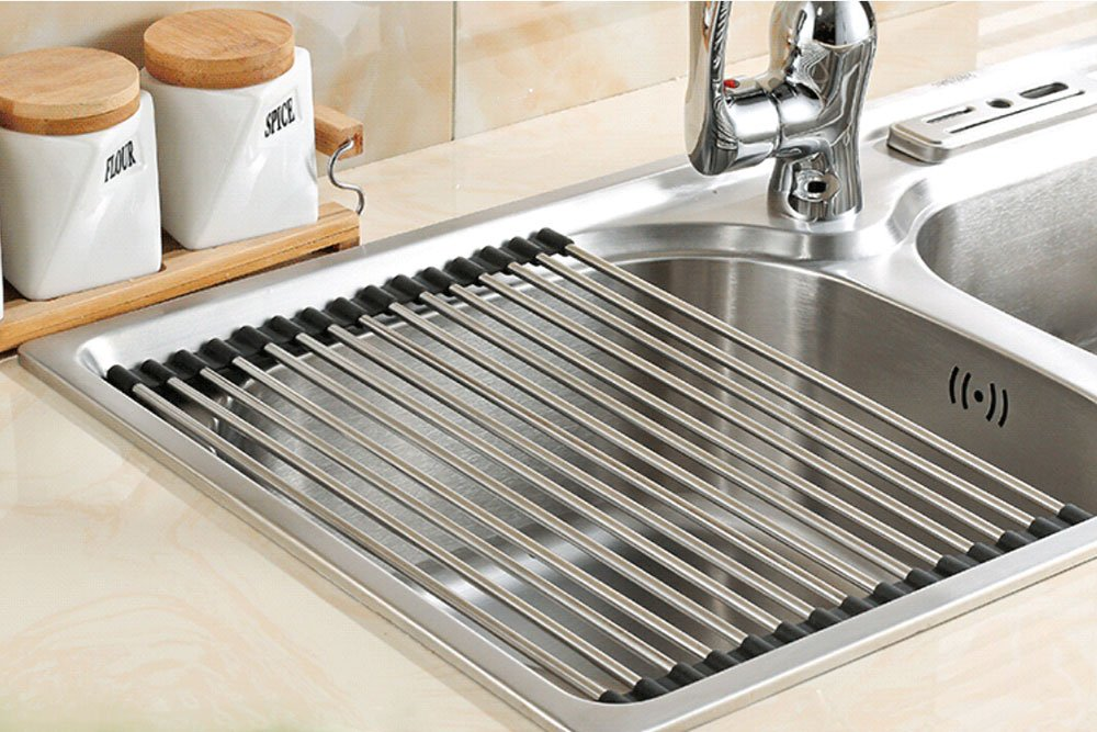 Myliffri Dish Rack Roll-up Dish Drying Rack Stainless Steel Over the Sink Drainer Multipurpose Kitchen Drainer Rack (14.5'' x 14'' Black)