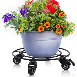 "Amagabeli 14"" Metal Plant Caddy Heavy Duty Iron Potted Plant Stand With Wheels Round Flower Pot Rack on Rollers Dolly Holder on Wheels Indoor Outdoor Planter Trolley Casters Rolling Tray Coaster"