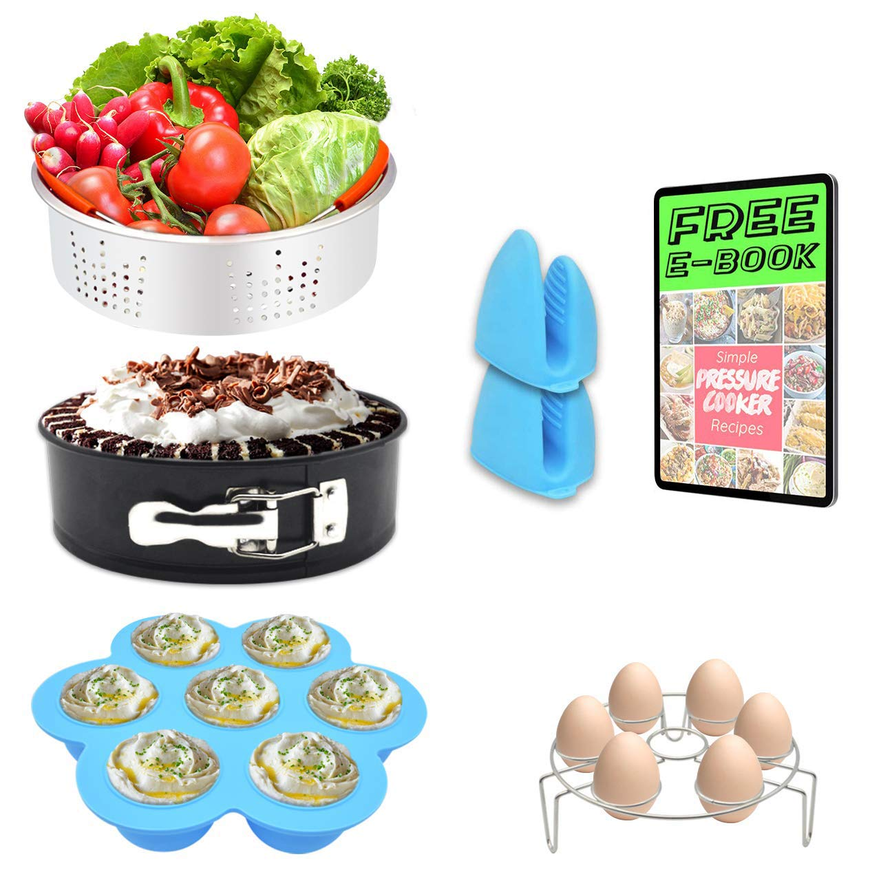 7 PCS Stackable Instant Pot Accessories Set - Vegetable Steamer Basket, Egg Bites Molds, Springform Pan, Egg Steamer Rack and Anti-scald Gloves, Fit 5/6 / 8 qt Instapot and Pressure Cooker …