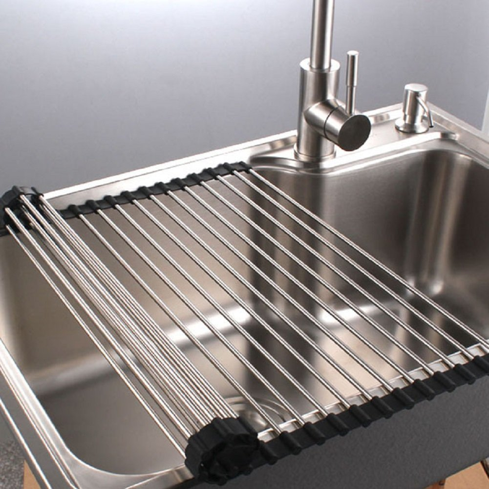 "Multipurpose Dish Drying Rack, Stainless Steel Over The Sink Rollup Dish Drying Rack, Dark Blue 17""W X 18.5""L"