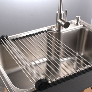 "Multipurpose Dish Drying Rack, Stainless Steel Over The Sink Rollup Dish Drying Rack, Black 17""W X 18.5""L"