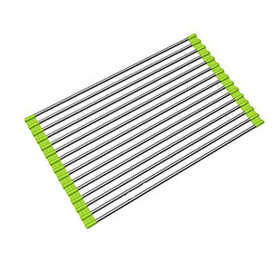 Ahyuan Roll up Dish Drainer Over The Sink Dish Drying Rack Roll up Dish Drying Rack Dish Drainers for Kitchen Sink Counter Roll-up Drying Rack SUS304 Stainless Steel Dish Drying Rack Light Green