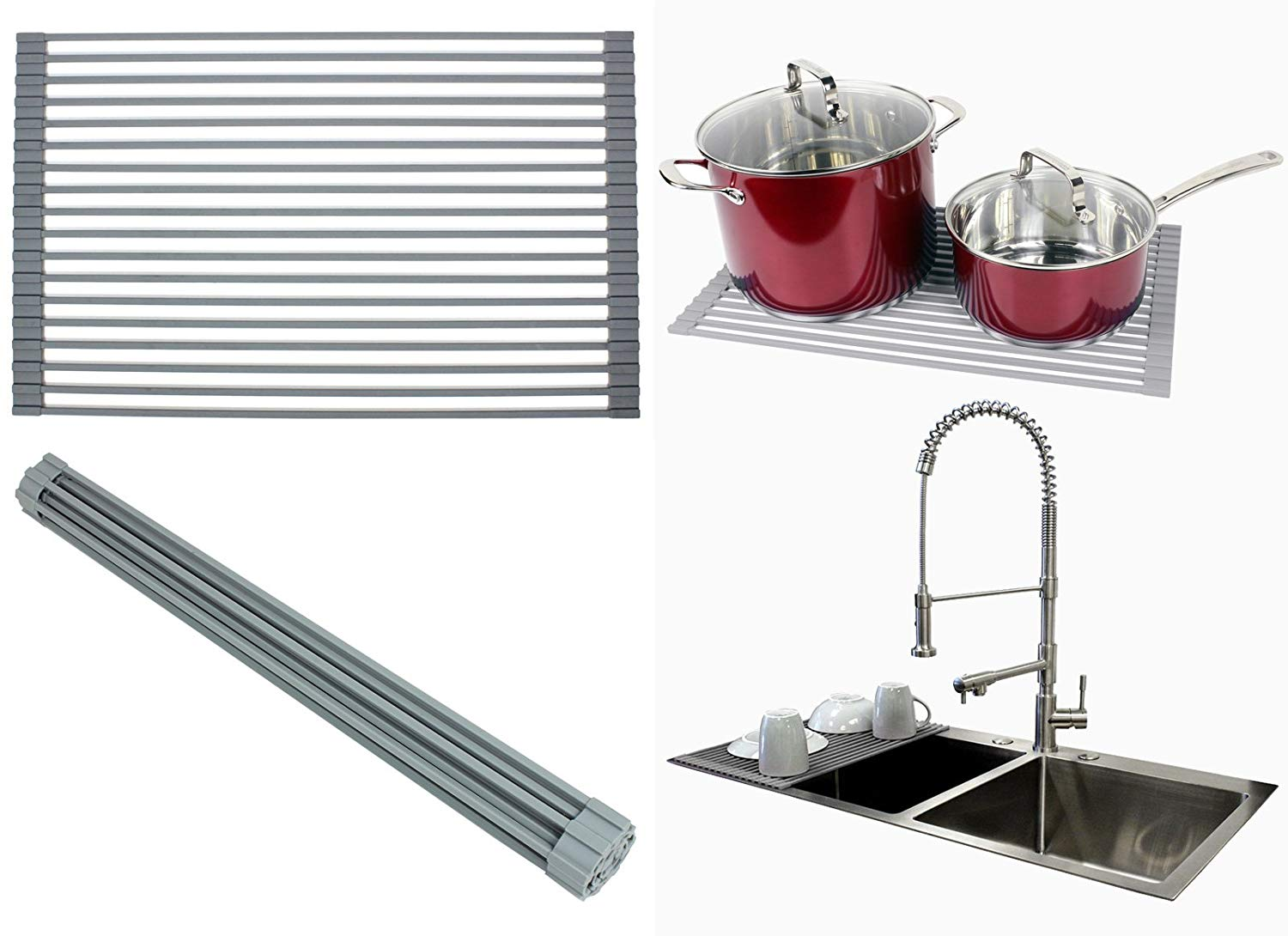 Ariel Over the Sink / Countertop Multipurpose Roll-Up Dish Drying Rack (Gray) - Silicone Coated Stainless Steel - Flat Stripe Design - Dishwasher Safe, Heat Resistant, Trivet, Colander, Food Defrost