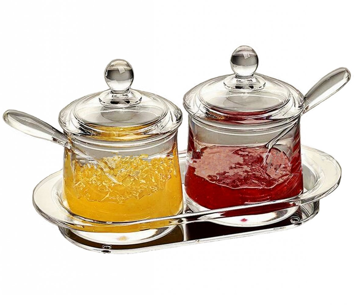FOLOBE Premium Quality Clear Acrylic condiment set spice box with spoon seasoning salt pepper spice cans kitchen accessories 8.5x3.94x4.96inches