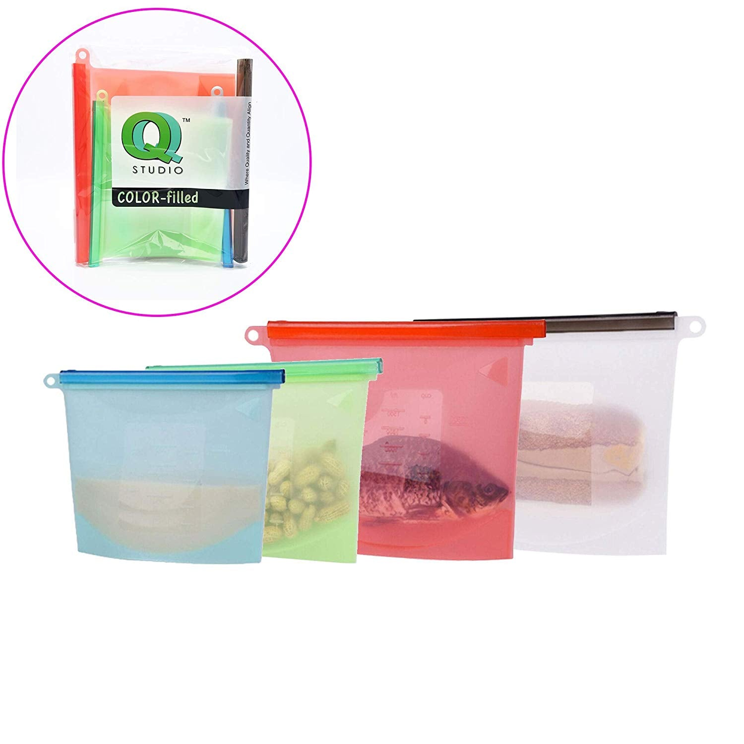 2 Large & 2 Regular Reusable Silicone Food Storage Bag Airtight Seal Preservation Versatile Kitchen Utensil by QQ Studio