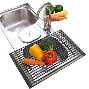 Ahyuan Large Roll up Dish Drying Rack Foldable Dish Rack over Sink Dish Drainer Roll-up Sink Drying Rack Full Silicone Coated Stainless Still Dish Drying Rack (20.5'' x 13.13'' Coral Grey)