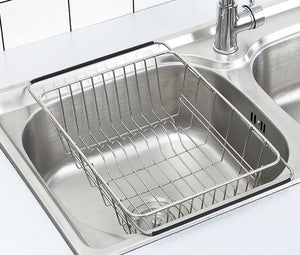 "Adjustable Dish Drying Rack Over Sink, SZUAH 18/8 Stainless Steel Dish Drainer, Large & Deep Dish Rack for Counter top & Sink, 13""L x 9.8"" W x 4.7""H(unextended size)"