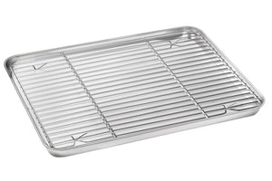 Baking Sheet with Rack Set, E-far Stainless Steel Baking Pan Cookie Pan with Cooling Rack, 16 x 12 x 1 inch, Rust Free & Non Toxic, Mirror Finish & Dishwasher Safe