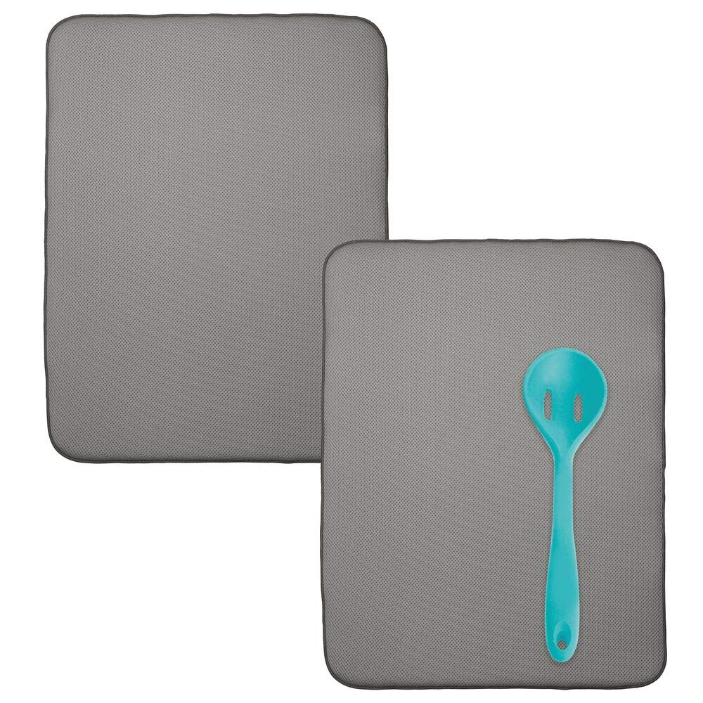 mDesign Ultra Absorbent Reversible Microfiber Dish Drying Mat and Protector for Kitchen Countertops, Sinks - Folds for Compact Storage, Extra Large - 2 Pack - Pewter Gray/Ivory